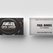 Fueled Coffee Company business cards front and back