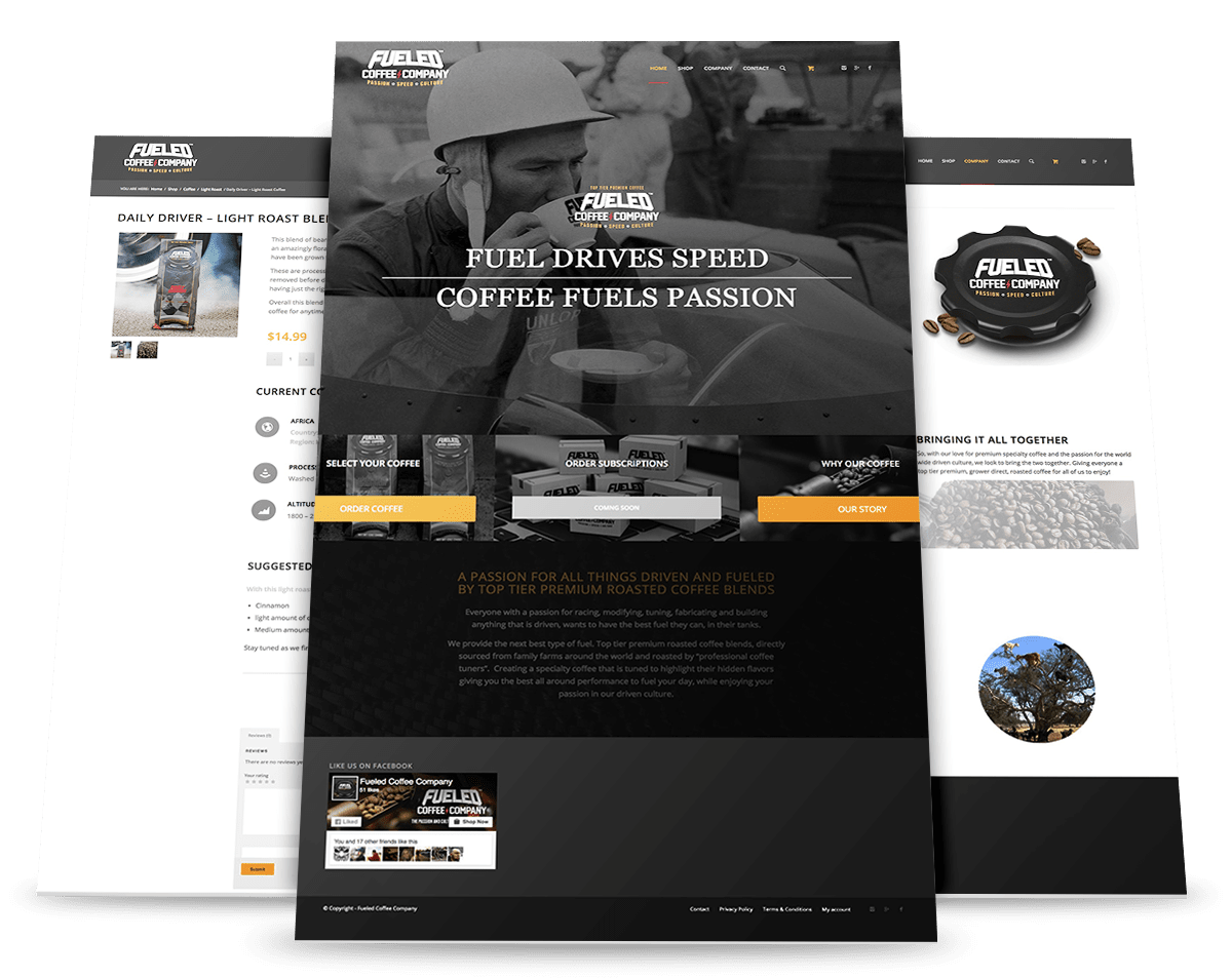 Fueled Coffee Company site mock up