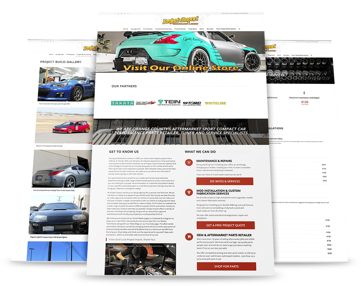 Project Import site mock up
